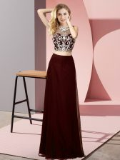 Brown Two Pieces Beading Evening Dress Backless Chiffon Sleeveless Floor Length
