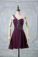 Dark Purple Sleeveless Beading and Ruching Prom Party Dress