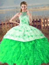 Sleeveless Organza Court Train Lace Up Vestidos de Quinceanera in Green with Embroidery and Ruffles