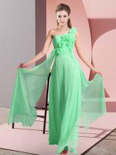 Enchanting One Shoulder Sleeveless Lace Up Dama Dress Green Chiffon