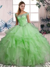 Dramatic Off The Shoulder Sleeveless Organza Quince Ball Gowns Beading and Ruffles Lace Up