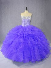 Customized Purple Organza Lace Up Quinceanera Gowns Sleeveless Floor Length Ruffles