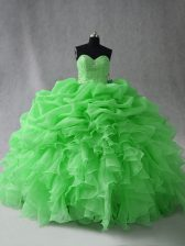 Hot Sale Sleeveless Beading and Ruffles and Pick Ups Lace Up 15 Quinceanera Dress