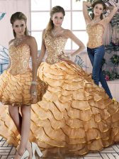 Charming Gold Organza Lace Up Sweetheart Sleeveless Quinceanera Dresses Brush Train Beading and Ruffles