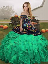 Suitable Green Off The Shoulder Neckline Embroidery and Ruffles Quinceanera Gowns Sleeveless Lace Up