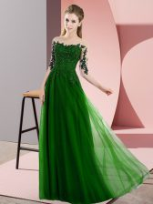 Green Empire Beading and Lace Quinceanera Court Dresses Lace Up Chiffon Half Sleeves Floor Length