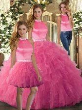 Hot Pink Sleeveless Ruffles Floor Length Vestidos de Quinceanera