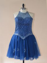 Great Royal Blue Halter Top Neckline Beading Homecoming Dress Sleeveless Lace Up