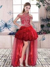 Cute Red Lace Up Prom Dresses Beading and Ruffled Layers Sleeveless High Low