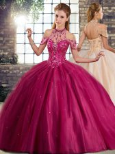 Shining Fuchsia Lace Up Halter Top Beading Quinceanera Gown Tulle Sleeveless Brush Train