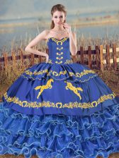 Fantastic Sweetheart Sleeveless Quince Ball Gowns Brush Train Embroidery and Ruffled Layers Blue Organza