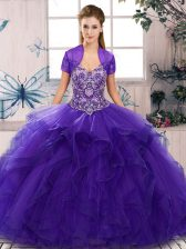 Cute Off The Shoulder Sleeveless Lace Up 15 Quinceanera Dress Purple Tulle
