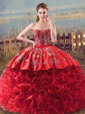 Discount Coral Red Ball Gowns Fabric With Rolling Flowers Sweetheart Sleeveless Embroidery and Ruffles Lace Up Ball Gown Prom Dress Brush Train