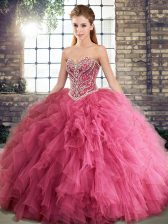 Watermelon Red Ball Gowns Beading and Ruffles 15th Birthday Dress Lace Up Tulle Sleeveless Floor Length