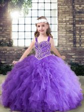 Customized Ball Gowns Kids Pageant Dress Lavender and Purple Straps Tulle Sleeveless Floor Length Lace Up