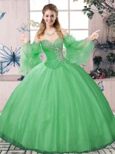 Excellent Green Sweet 16 Dress Sweet 16 and Quinceanera with Beading Sweetheart Long Sleeves Lace Up