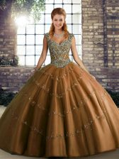 Discount Brown Sweet 16 Dresses Military Ball and Sweet 16 and Quinceanera with Beading and Appliques Straps Sleeveless Lace Up