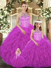 Floor Length Fuchsia Quinceanera Gown Halter Top Sleeveless Lace Up