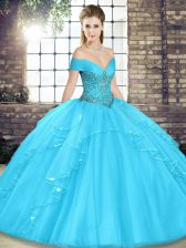 Aqua Blue Quinceanera Dresses Military Ball and Sweet 16 and Quinceanera with Beading and Ruffles Off The Shoulder Sleeveless Lace Up