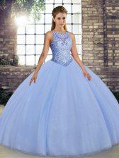 Floor Length Lavender Sweet 16 Dresses Scoop Sleeveless Lace Up