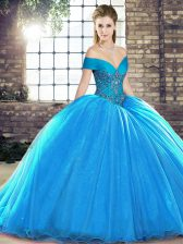 Designer Organza Sleeveless Sweet 16 Dresses Brush Train and Beading