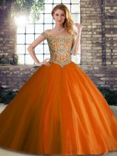 Luxury Orange Red Ball Gowns Beading Sweet 16 Dresses Lace Up Tulle Sleeveless