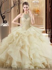 Sexy Quinceanera Gown Champagne for Sweet 16 and Quinceanera with Beading and Ruffles Brush Train
