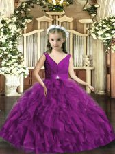 Eggplant Purple V-neck Neckline Beading and Ruffles Little Girl Pageant Gowns Sleeveless Backless