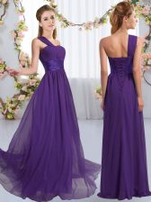 High Class Purple Quinceanera Court of Honor Dress Wedding Party with Ruching One Shoulder Sleeveless Lace Up