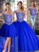 Superior Royal Blue Tulle Lace Up Quinceanera Gowns Sleeveless Brush Train Beading