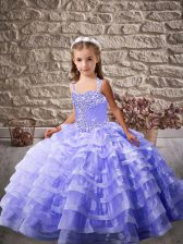 Sleeveless Organza Floor Length Lace Up Pageant Gowns For Girls in Lavender with Ruffled Layers