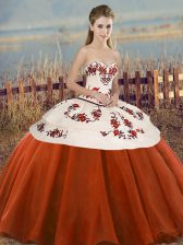 Hot Selling Rust Red Ball Gowns Tulle Sweetheart Sleeveless Embroidery and Bowknot Floor Length Lace Up Quinceanera Gown
