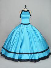 Wonderful Baby Blue Satin Zipper Scoop Sleeveless Floor Length Quinceanera Dresses Ruching