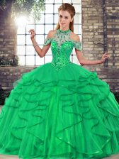 Traditional Green Ball Gowns Tulle Halter Top Sleeveless Beading and Ruffles Floor Length Lace Up Sweet 16 Dresses