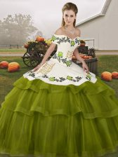 Lovely Olive Green Sleeveless Tulle Brush Train Lace Up Quince Ball Gowns for Military Ball and Sweet 16 and Quinceanera