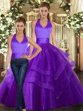 Adorable Purple Two Pieces Ruffled Layers Quince Ball Gowns Lace Up Tulle Sleeveless Floor Length