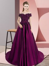 Purple A-line Satin Off The Shoulder Sleeveless Lace Zipper Quinceanera Gown Court Train