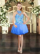 Blue Tulle Lace Up Halter Top Sleeveless Mini Length Prom Dress Embroidery