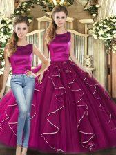 Floor Length Two Pieces Sleeveless Fuchsia Vestidos de Quinceanera Lace Up