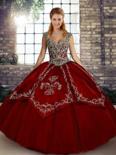 Fashionable Wine Red Tulle Lace Up Straps Sleeveless Floor Length 15 Quinceanera Dress Beading and Embroidery