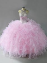 Spectacular Pink Halter Top Neckline Beading and Ruffles Quince Ball Gowns Sleeveless Lace Up