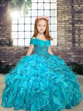 Aqua Blue Ball Gowns Beading Pageant Dress Wholesale Lace Up Organza Sleeveless Floor Length
