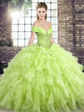 Shining Sleeveless Brush Train Lace Up Beading and Ruffles Sweet 16 Dresses