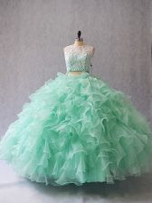 Scoop Sleeveless Quinceanera Gown Floor Length Beading and Lace and Ruffles Apple Green Organza