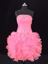 Fantastic Sleeveless Organza Lace Up Prom Evening Gown in Rose Pink with Beading and Ruching