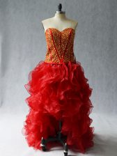 High Low Lace Up Evening Dress Wine Red for Prom and Party with Beading and Ruffles