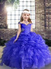 New Arrival Blue Straps Lace Up Beading and Ruffles Girls Pageant Dresses Sleeveless