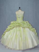 Popular Yellow Green Sleeveless Organza and Tulle Brush Train Lace Up Sweet 16 Dresses for Sweet 16 and Quinceanera