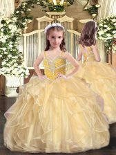 Custom Made Gold Sleeveless Floor Length Beading and Ruffles Lace Up Little Girls Pageant Gowns