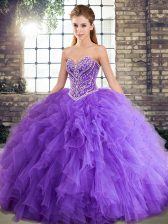 Exceptional Floor Length Lavender 15 Quinceanera Dress Tulle Sleeveless Beading and Ruffles